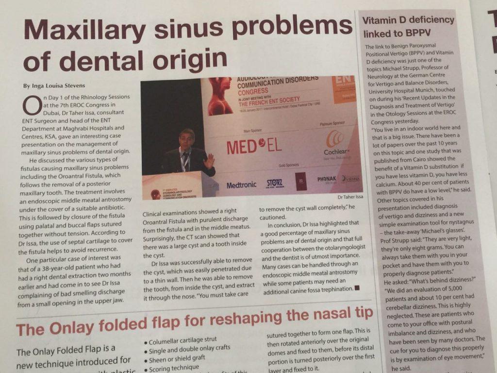 د/ طاهر عيسى يُنتخب كأفضل مْتحدث في الإجتماع الدولي لإطباء الــ ENT